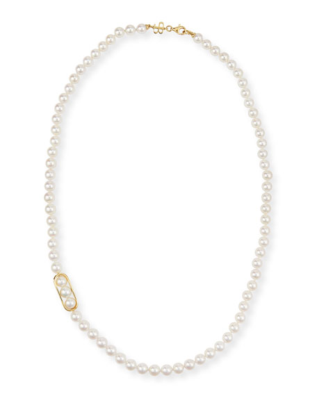 18K Gold Akoya Pearl Necklace, 24""