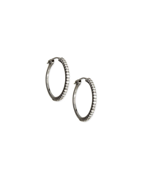 Black Rhodium Diamond Hoop Earrings