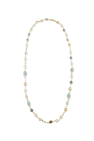 Belpearl 18K Gold Mixed Pearl, Green Sapphire & Aquamarine Necklace, 42""
