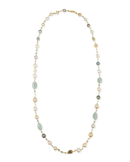 18K Gold Mixed Pearl, Green Sapphire & Aquamarine Necklace, 42""