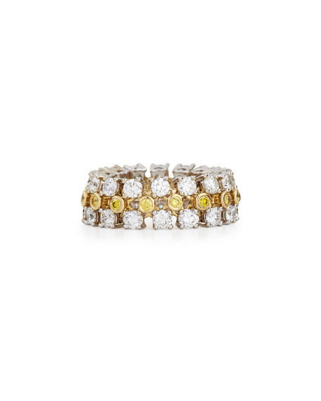 18K White Gold Three-Row Diamond Jubilee Ring