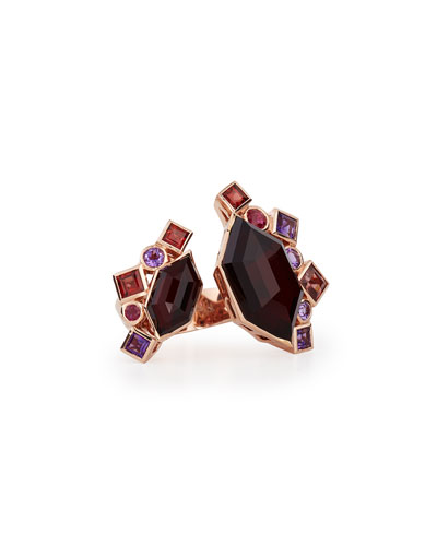 Gold Struck Open Garnet, Ruby & Amethyst Ring