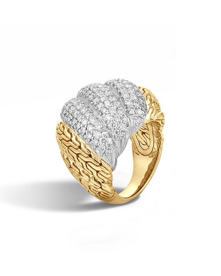 John Hardy Classic Chain Pavé Diamond Dome Ring,