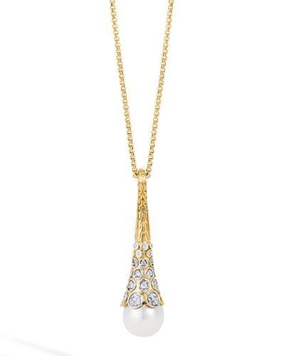 John Hardy Dot 18K Gold Diamond & Pearl