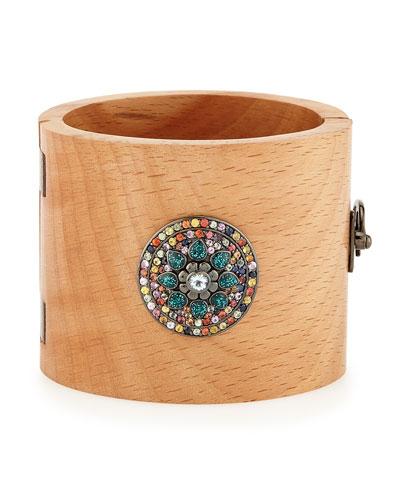 Valhalla Mixed-Sapphire & Wood Cuff Bracelet