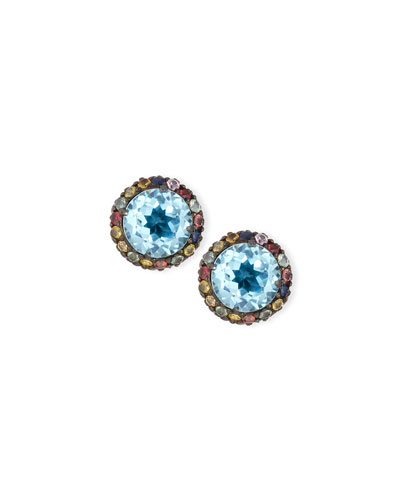 Valhalla Blue Topaz & Mixed Sapphire Earrings