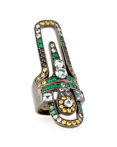 Valhalla Abstract Mixed Stone Ring, Size 7