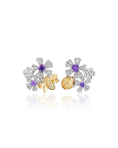 Wonderland Sapphire & Diamond Orchid Earrings