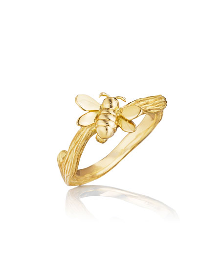 Wonderland 18K Gold Small Stackable Bee Ring, Size 6