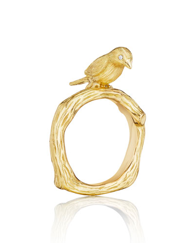 Wonderland 18K Gold Bird Ring, Size 6