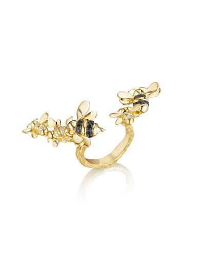 Wonderland 18K Gold Open-Shank Bee Ring, Size 6