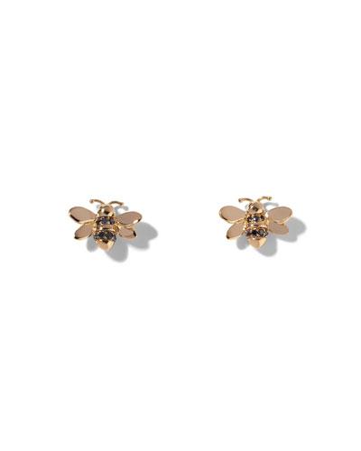 Wonderland Black Diamond Bee Stud Earrings