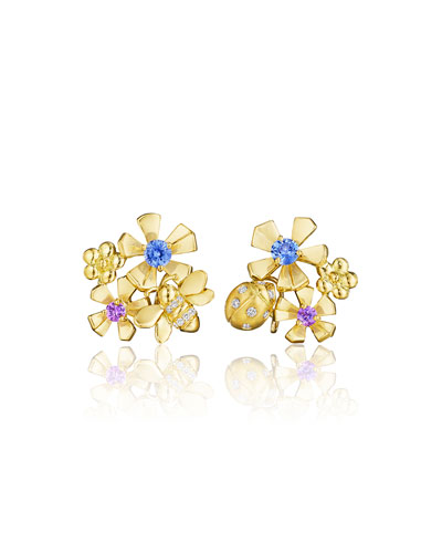 Wonderland Pow Orchid Cluster Clip-On Earrings