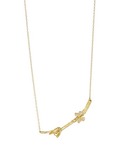 Wonderland Bird & Butterfly Stick Necklace