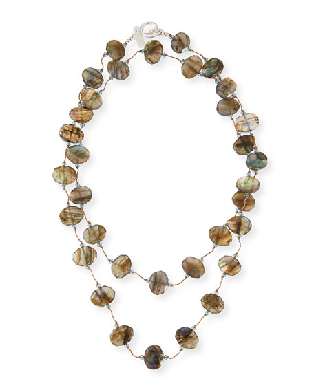 Faceted Flat Labradorite Necklace, 35""
