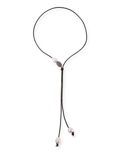 Baroque Pearl Lariat Necklace, Black