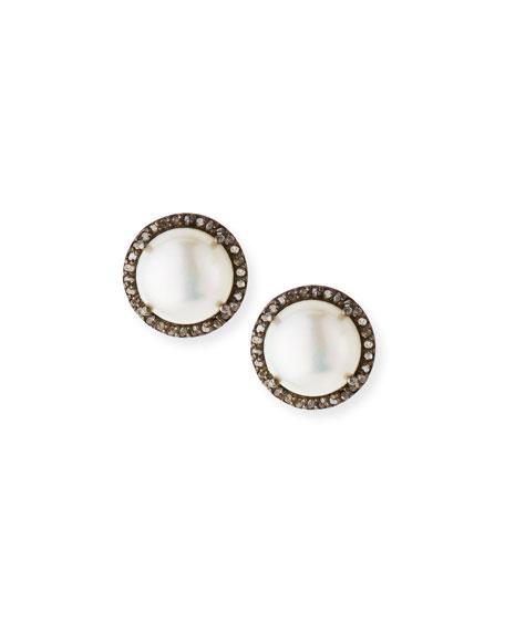 Pavé Diamond & Pearl Button Earrings