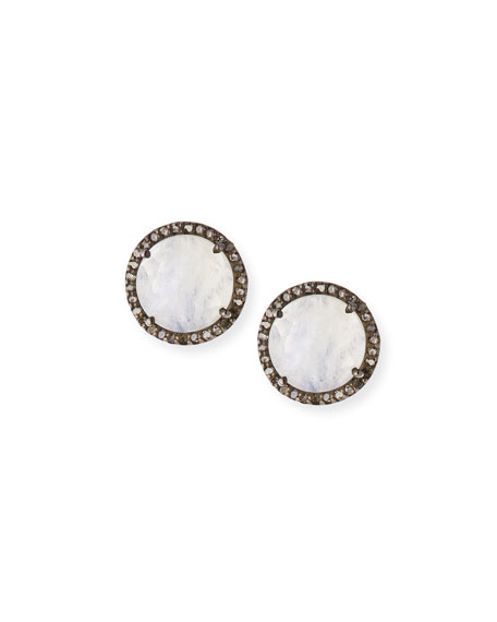 Faceted Moonstone & Diamond Earrings