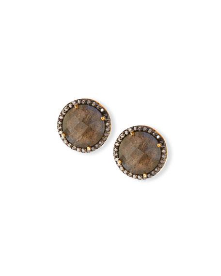 Faceted Labradorite & Diamond Earrings