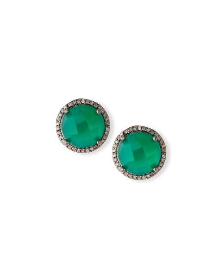 Faceted Green Onyx & Diamond Earrings