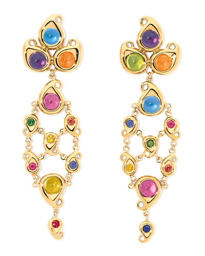 Paisley Multicolor Cabochon Drop Earrings