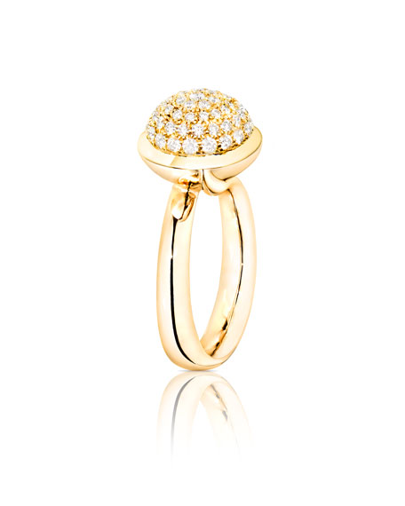 Bouton 18K Yellow Gold Pave Diamond Dome Ring, Size 7/54