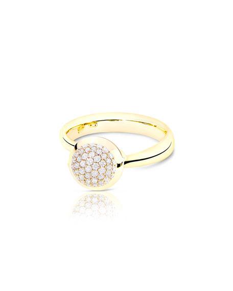 Tamara Comolli Bouton 18K Yellow Gold Pavé Diamond Ring, Size 7/54