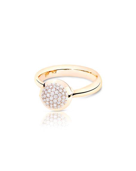 Tamara Comolli Bouton 18K Rose Gold Pavé Diamond Ring, Size 7/54