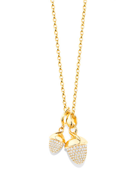 Mikado Bouquet 18K Yellow Gold Pave Diamond Pendant