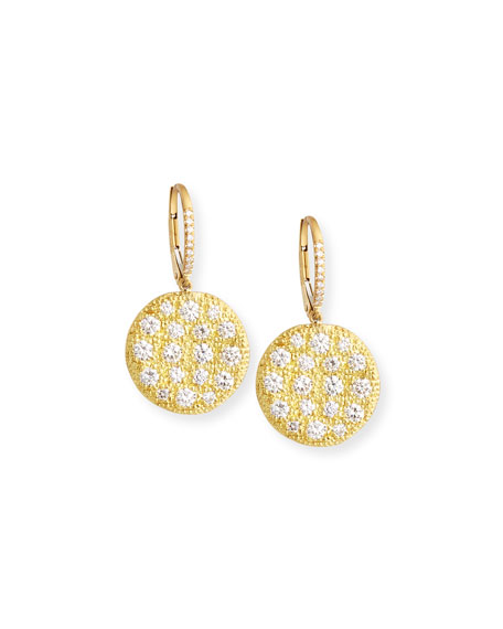 Rahaminov 18k Yellow Gold Diamond Disc Earrings