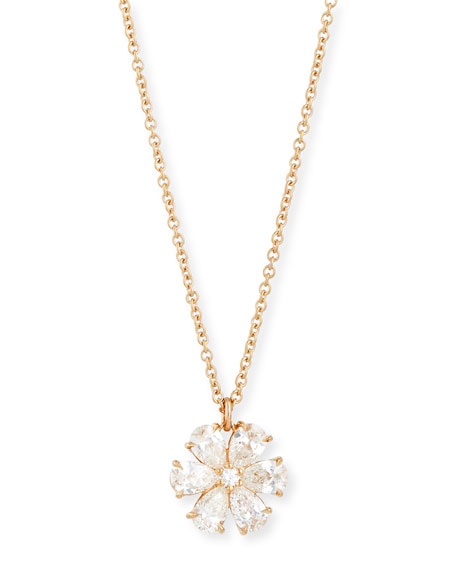 Rahaminov 18K Rose Gold Diamond Flower Pendant Necklace