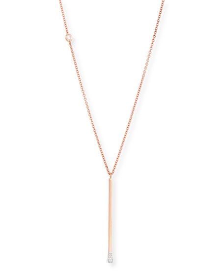 18K Rose Gold Diamond Melee Matchstick Necklace