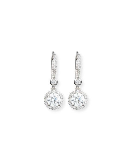 18K White Gold Round Diamond Drop Earrings