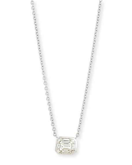 18K White Gold Step Diamond Kaleidoscope Pendant Necklace