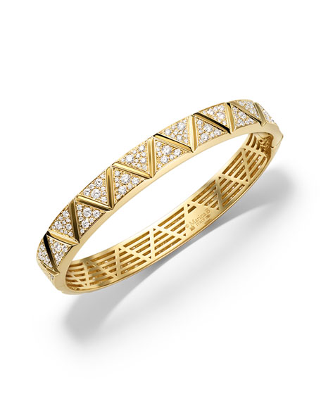 Marina B 18K Yellow Gold Triangoli Diamond Bangle
