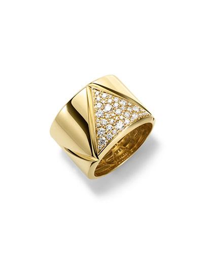 18K Yellow Gold Triangoli Diamond Ring