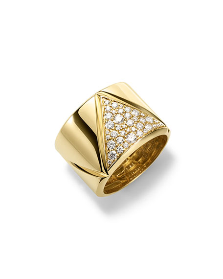 Marina B 18K Yellow Gold Triangoli Diamond Ring
