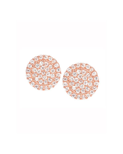 18K Rose Gold Pavé Diamond Scallop Stud Earrings