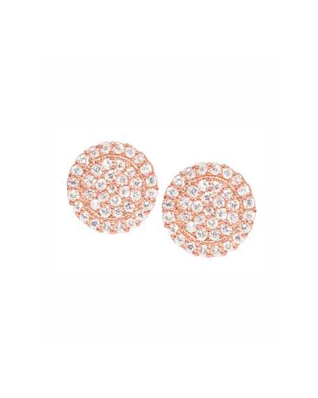 Jamie Wolf 18K Rose Gold Pavé Diamond Scallop Stud Earrings