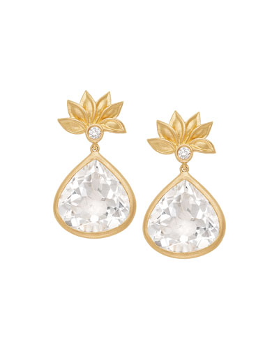Lotus Flower White Topaz & Diamond Earrings