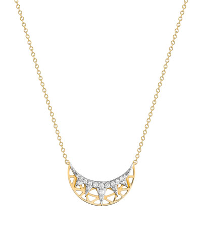 Liberté Half Moon Diamond Pendant Necklace