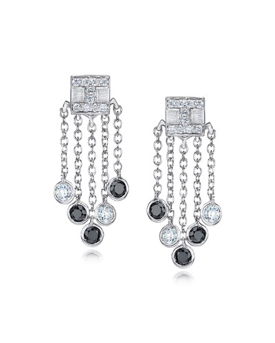 18K White Gold Tassel Moderne Short Fringe Diamond Earrings