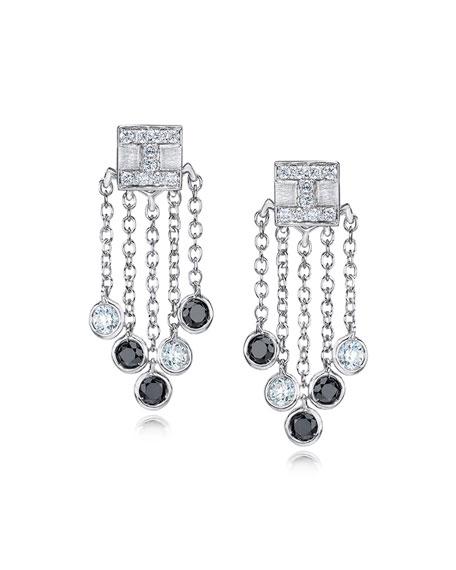 18K White Gold Tassel Moderne Short Fringe Diamond Earrings