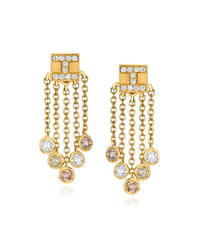 18K Yellow Gold Tassel Moderne Short Fringe Diamond Earrings