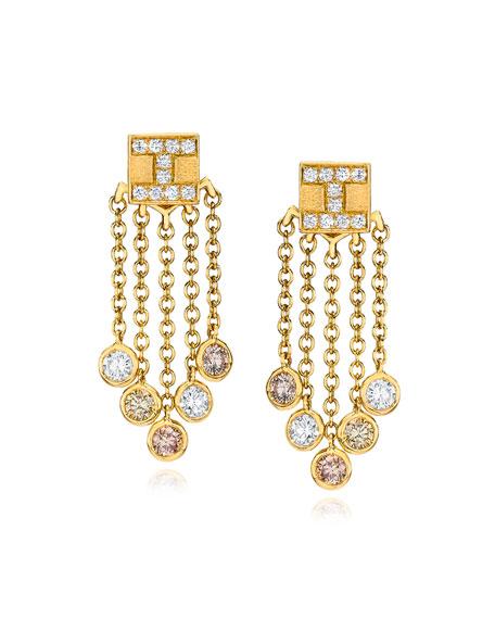 18K Yellow Gold Tassel Moderne Short Fringe Diamond Earrings