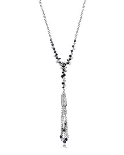 Tassel Moderne Black & White Diamond Fringe Necklace