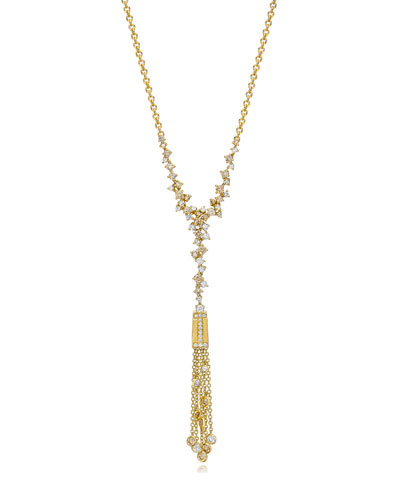 18K Yellow Gold Tassel Moderne Diamond Fringe Necklace
