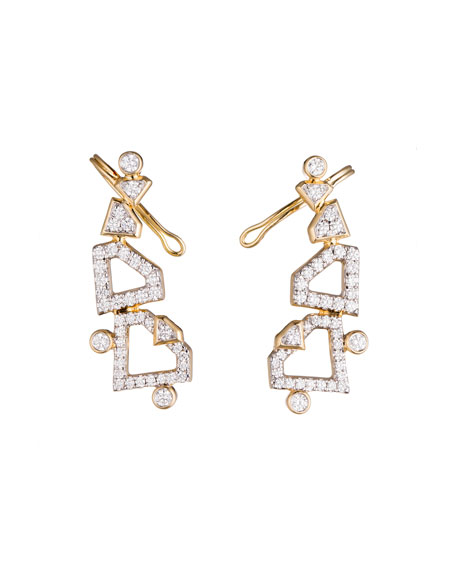 #She'sBrilliant Pavé Diamond Climber Earrings, 1.0 TCW