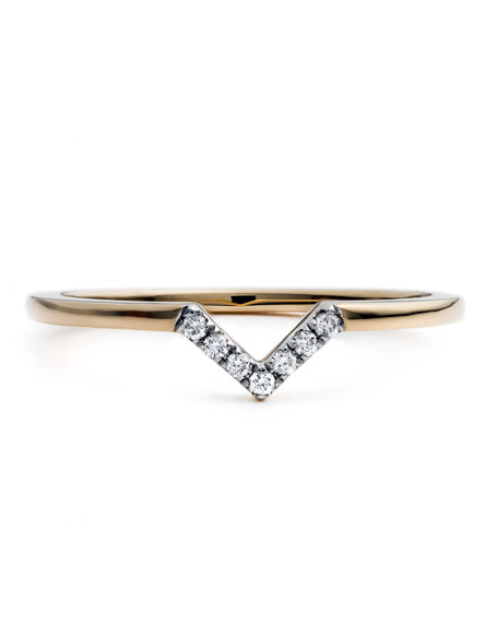 #She'sBrilliant Pavé Diamond V Stacking Ring