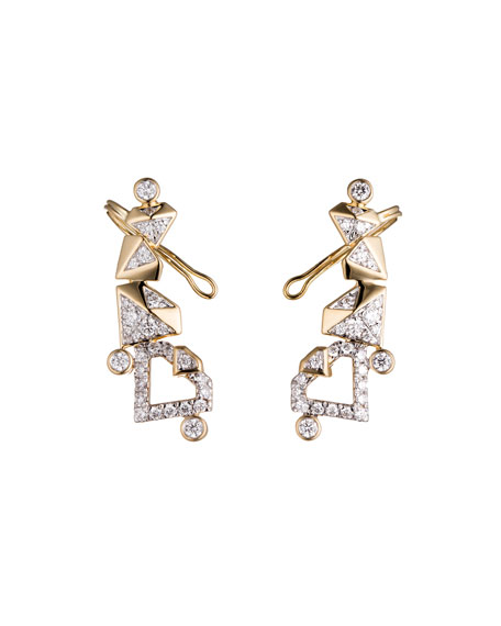 KARA by Kara Ross #She'sBrilliant Pavé Diamond Climber Earrings, 0.87 TCW